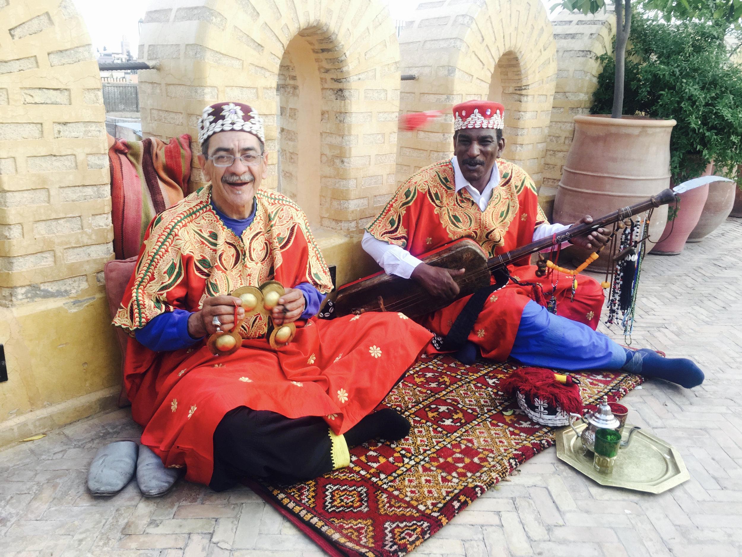 Gnaoua musicians at Yacout Restaurant, Marrakech