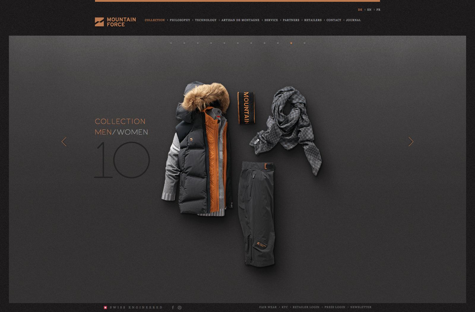 Mountain Force Webseite Kollektion