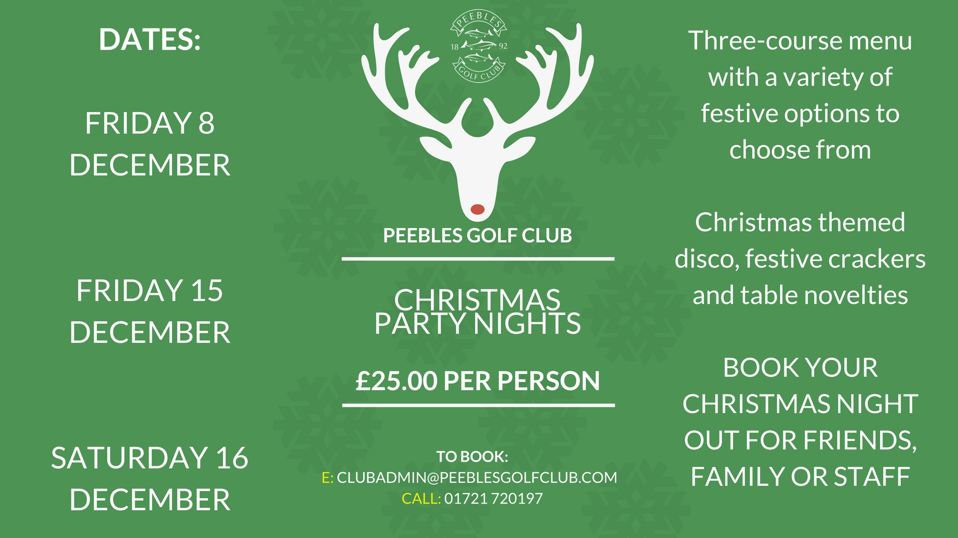 Dates of out Christmas party nights