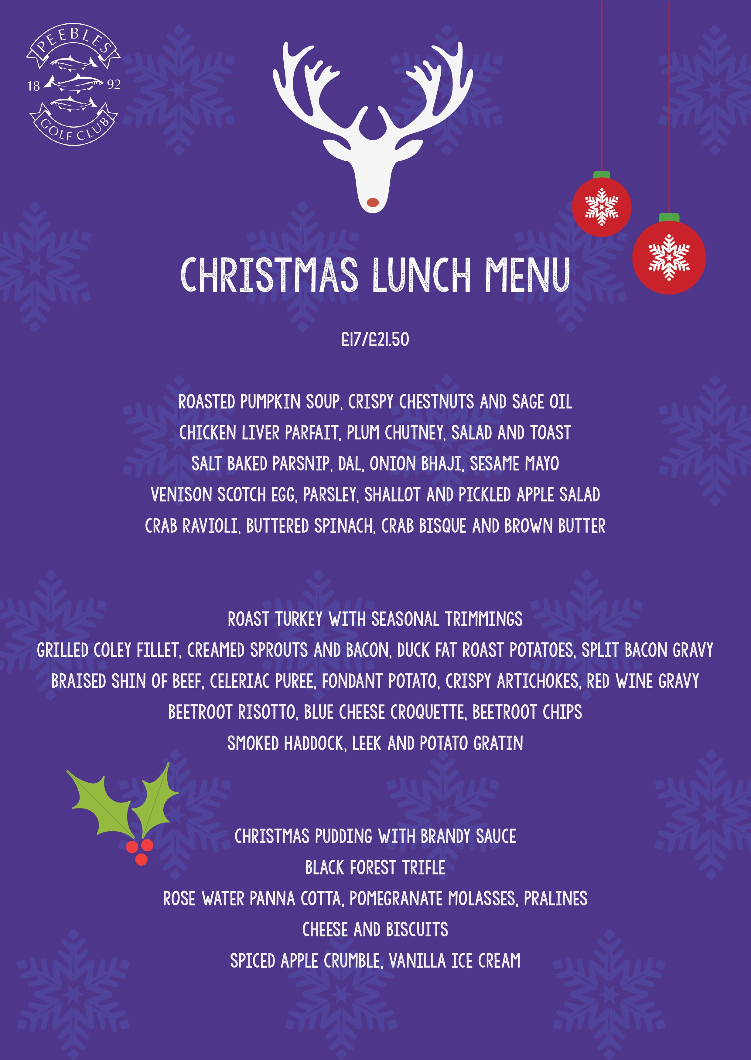 Festive lunch menu