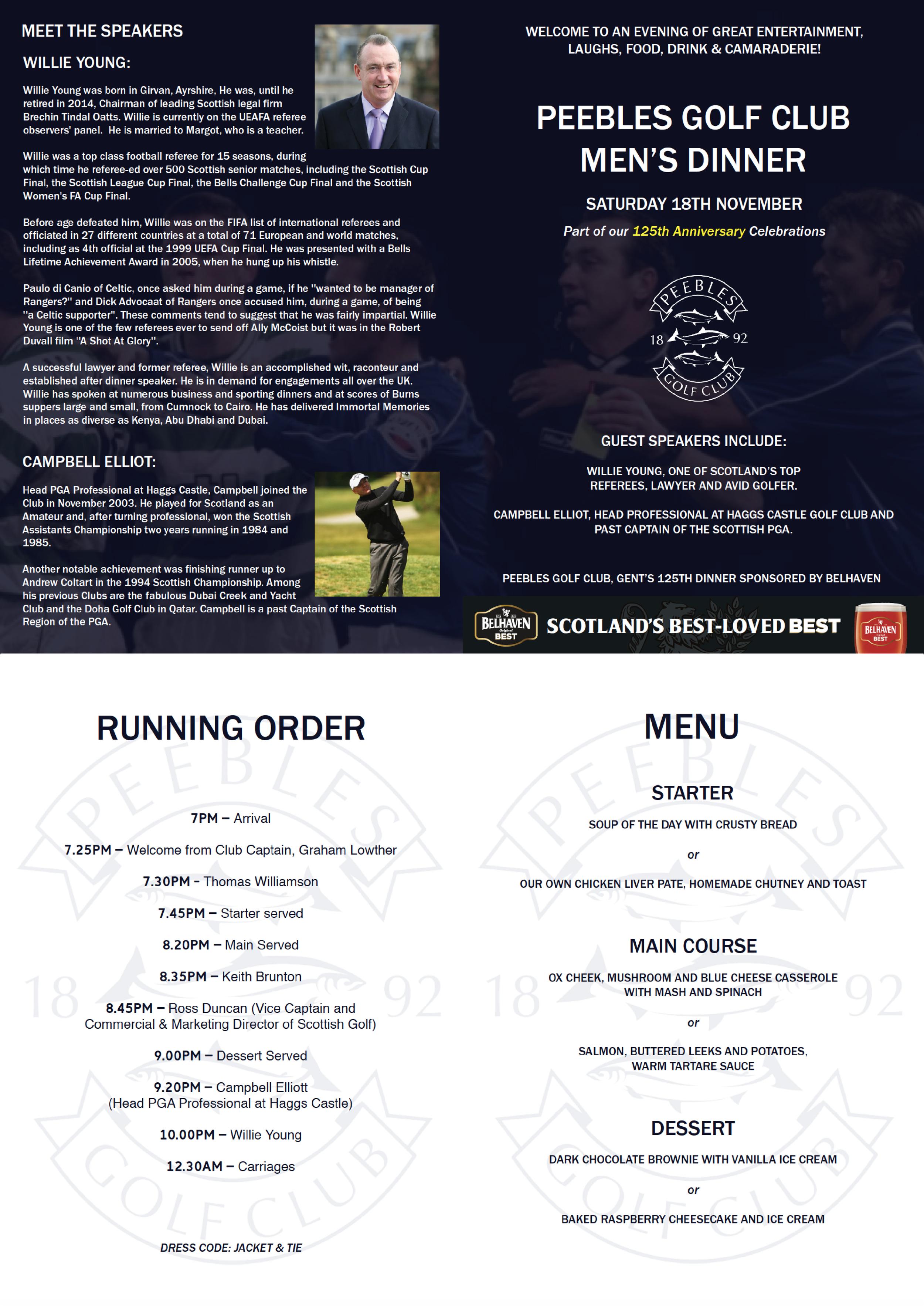 itinerary and menu
