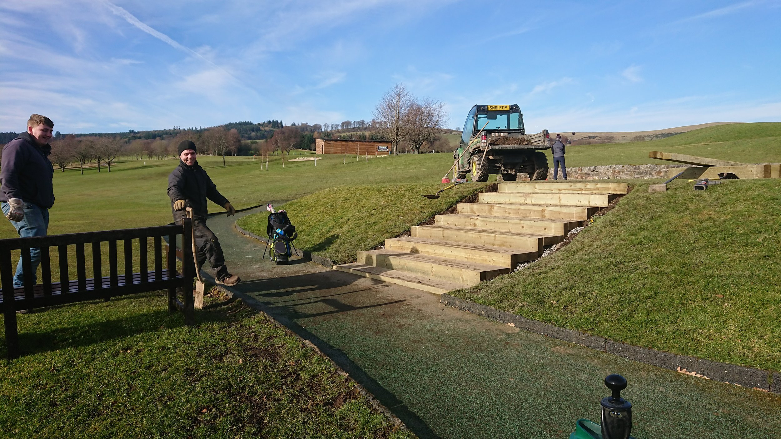 Steve and the boys doing a cracking job developing the new steps to the 1st tee