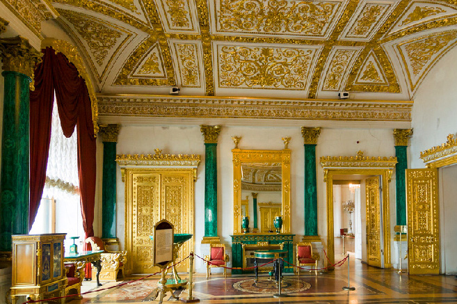 The Malachite Room at the WInter Palace