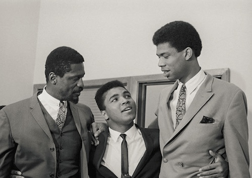 Bill Russell on the left; Muhammad Ali in the middle; Kareem Abdul-Jabbar on the right.