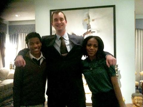 Photo: Anacostia students Lamar Penny and Nekaiya Wilson with foreign correspondent Eddie Walsh.