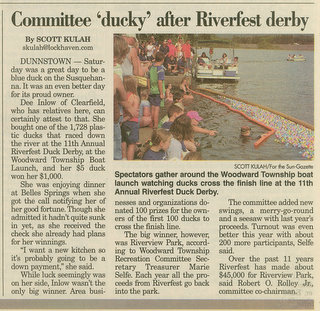 Each year STSC works with the Woodward Township Duck Derby     and Cardboard Box Boat races to raise money for their park.       Click here to view larger image