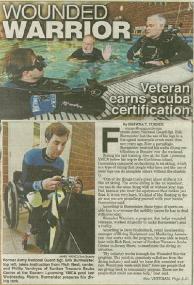 In 2009 we had the opportunity to work with Erik and the Wounded Warrior program   Click here for larger image