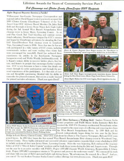 In 2009, Rich Best received the Northcentral PA Volunteer of the Year Award.   Click here for larger image