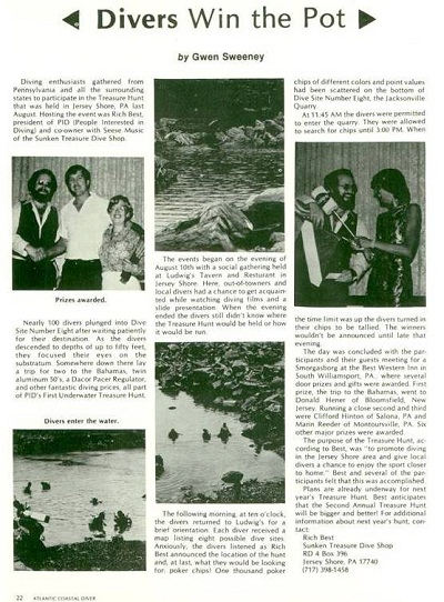 From the3rd U/W Treasure Hunt in 1981. Article from National Diving Publication Atlantic Coastal Diver.   Click here for a larger image