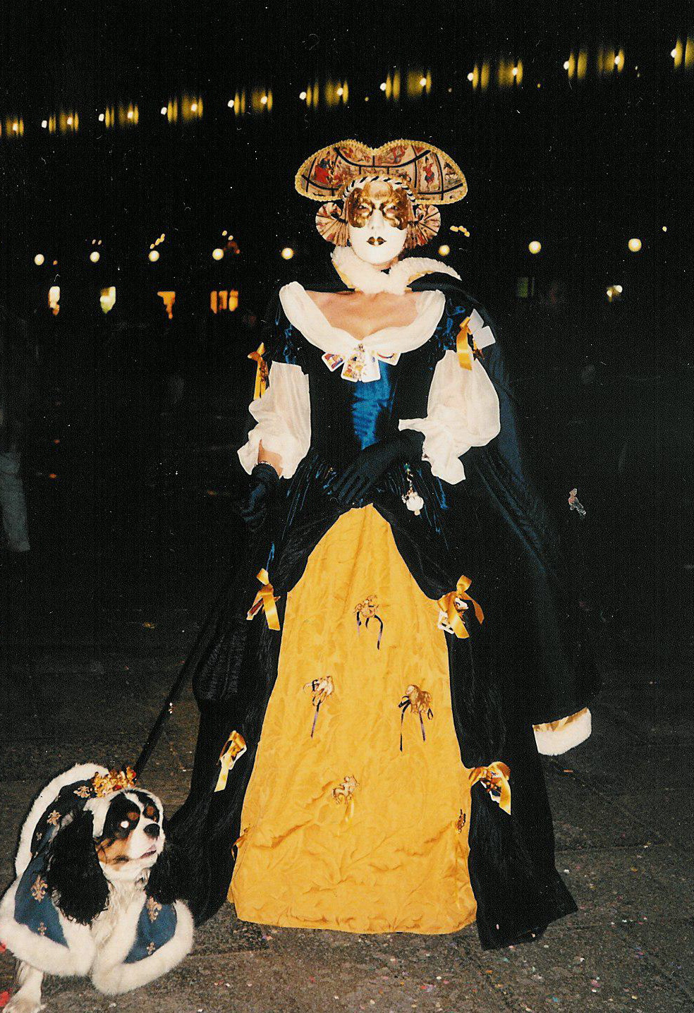Robe Epoque 17e siècle marine et or