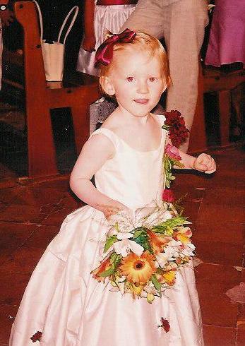 Robe de petite fille d'honneur en soie sauvage avec corset