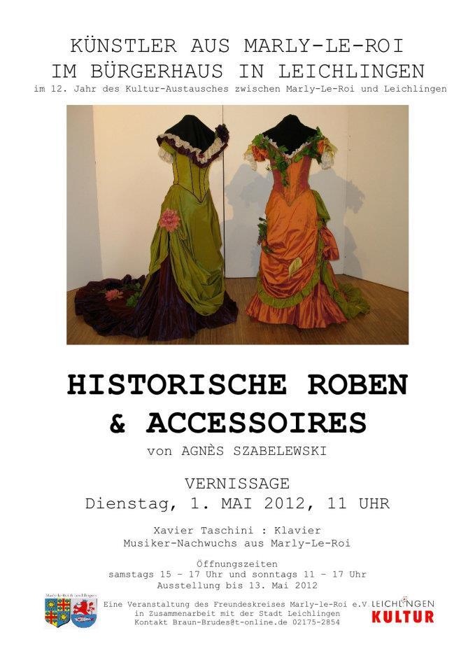 Exposition de costumes d'époque et créations d'Agnès Szabelewski en Allemagne