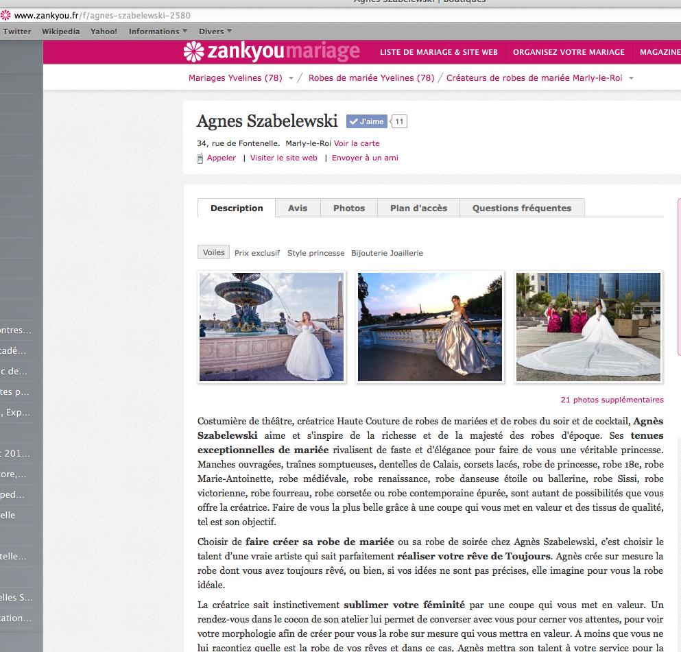 Article sur Agnès Szabelewski dans le Site internet Zankyou