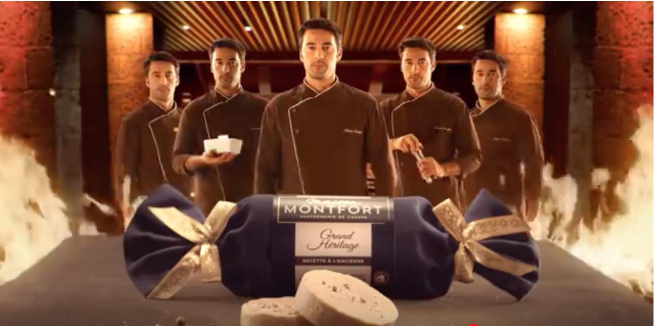 Foie gras Grand Héritage de la Maison Montfort : Costume de Chef Cuisinier d'Agnès Szabelewski, publicité à visualiser en cliquant sur la photo