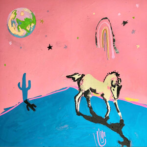 A piece of art - on a pink background is a drawing of a bare landscape with a cactus, there is a horse, and in the sky some stars, a rainbow, and a moon. It's a childlike, imaginative drawing.