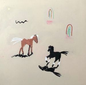 A piece of art that looks almost like a child's drawing of two horses with a rainbow and squiggly lines around. It's probably with pastels. It's whimsical.