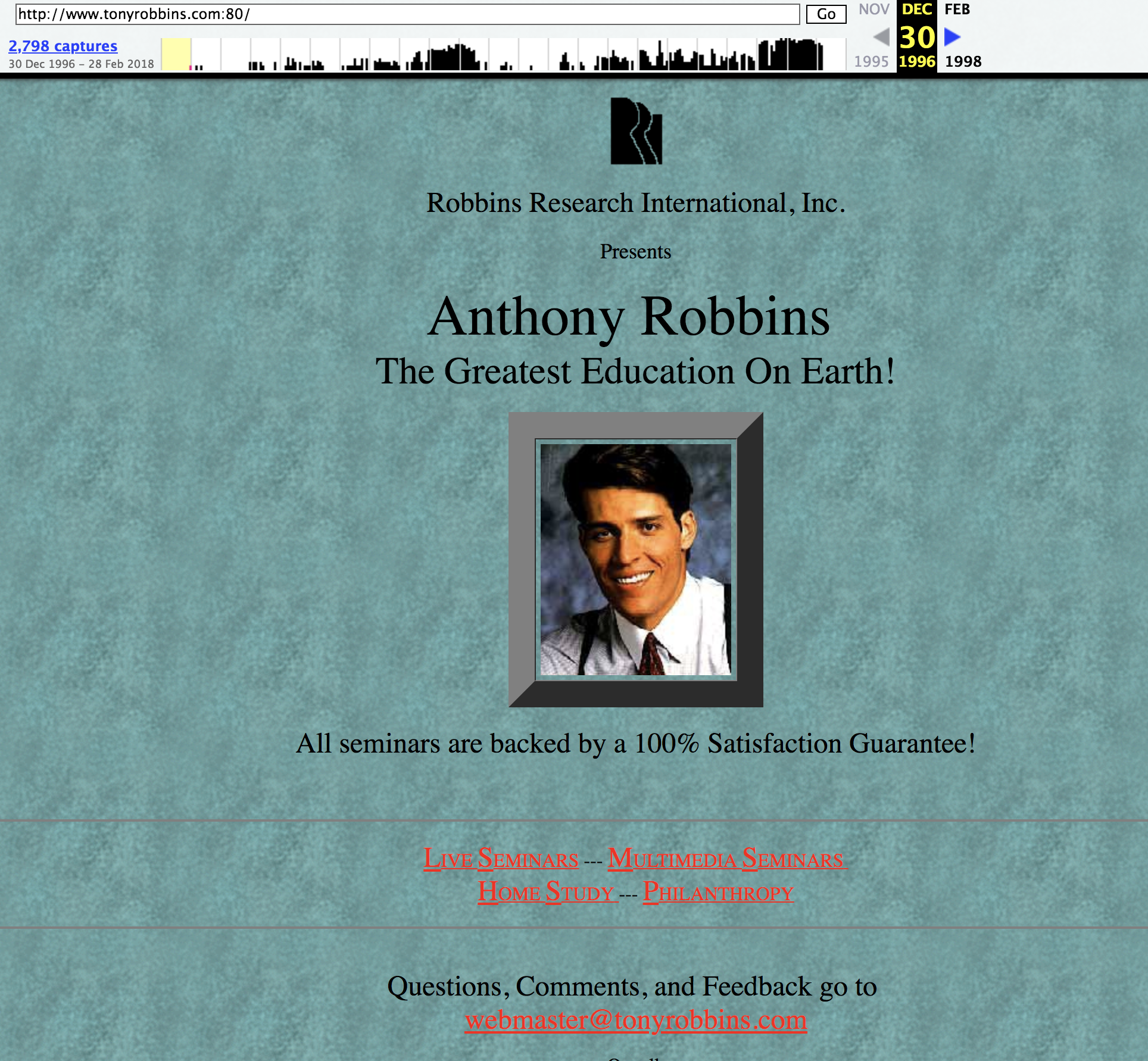 1996 - Tony's website was modest, but his confidence in himself was not.