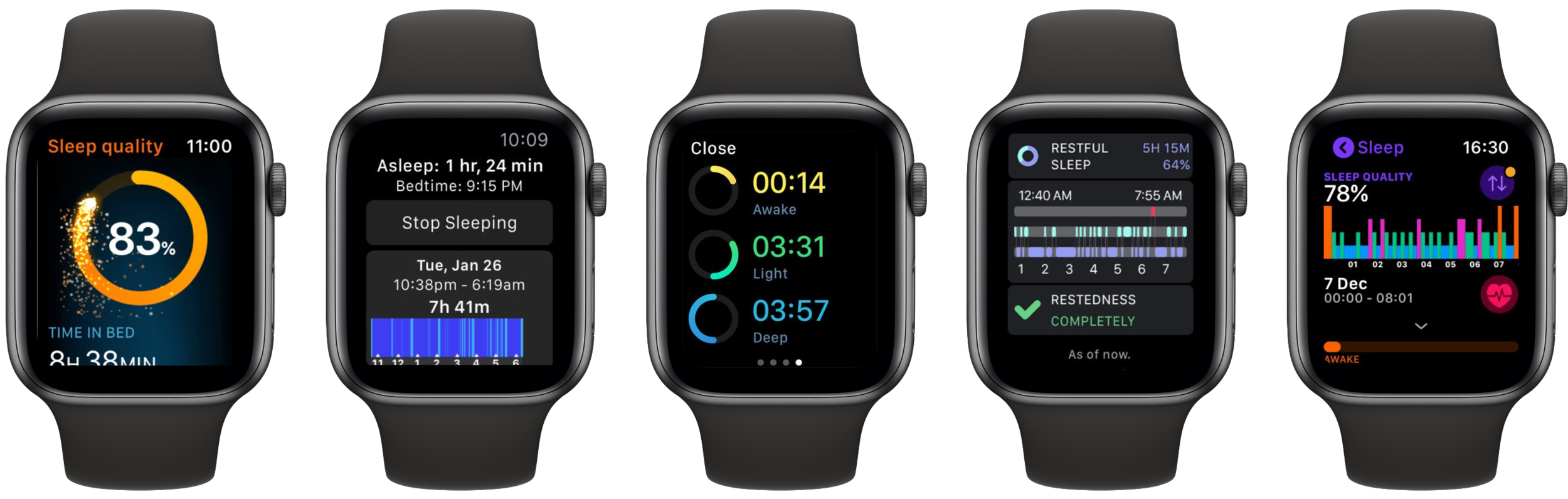 Many Third Party Developers offer Sleep Trackers for the Apple Watch.