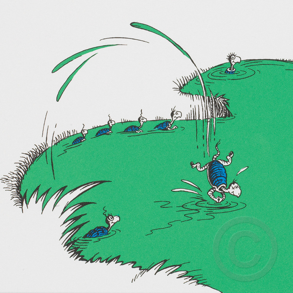 On The Far Away Island Of Salamasond Yertle The Turtle Was King Of The Pond The Art Of Dr Seuss Collection Published By Chaseart Companies He ordered nine turtles to swim to his stone and, using these turtles, he built a new throne. on the far away island of salamasond yertle the turtle was king of the pond the art of dr seuss collection published by chaseart companies