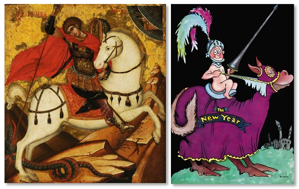 Left:  Saint George and the Dragon  - circa 1514, Right:  Bring on your dragons!  - circa early 1930s