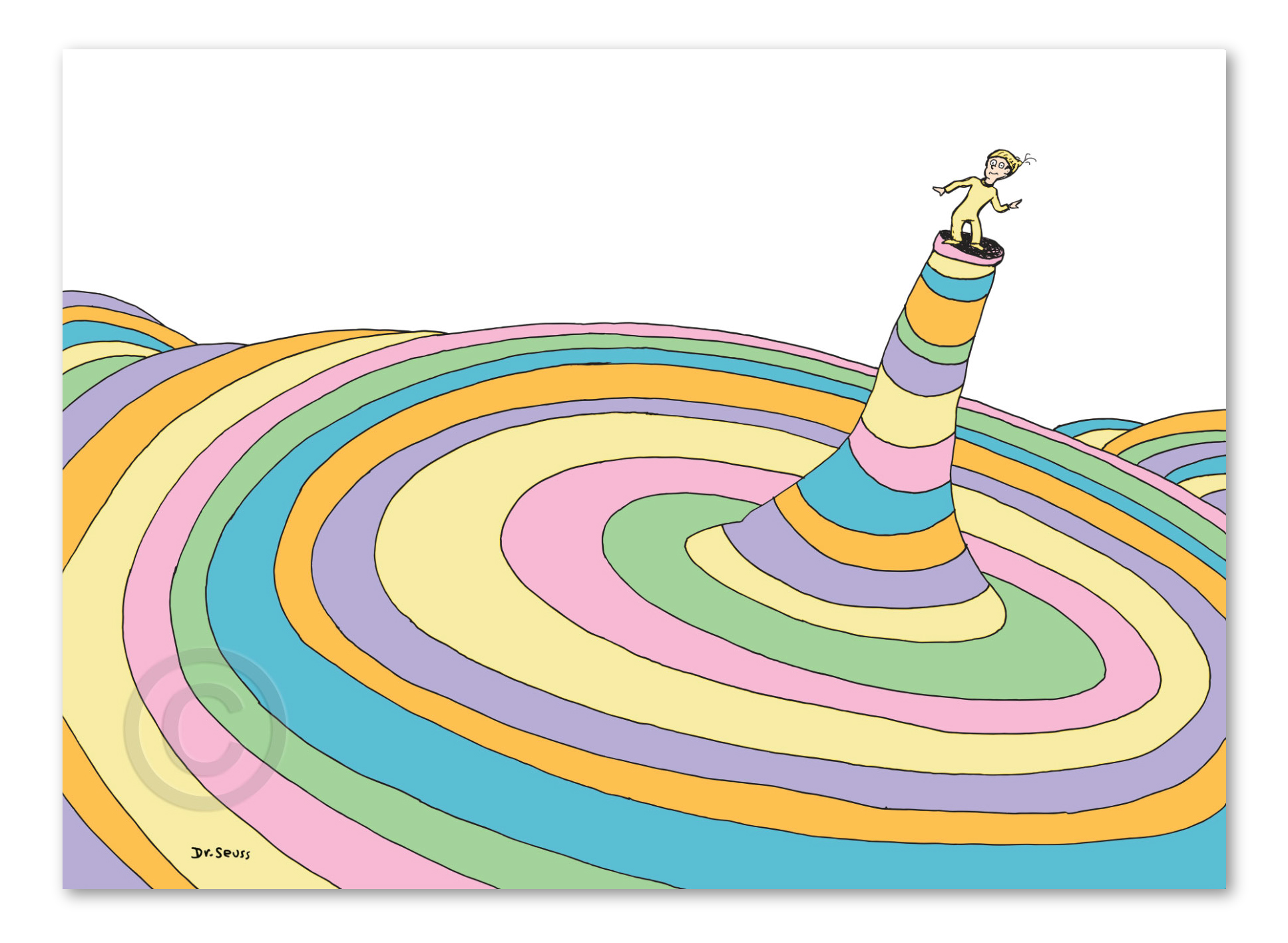 """Oh, the Places You'll Go! Cover Deluxe   Fine art pigment print on acid-free paper with deckled edges, image and paper size: 26"""" x 36""""  Limited edition of 850 prints numbered 1/850 – 850/850 and 155 Collaborators' Proofs numbered CP 1/155 – 155/155."""