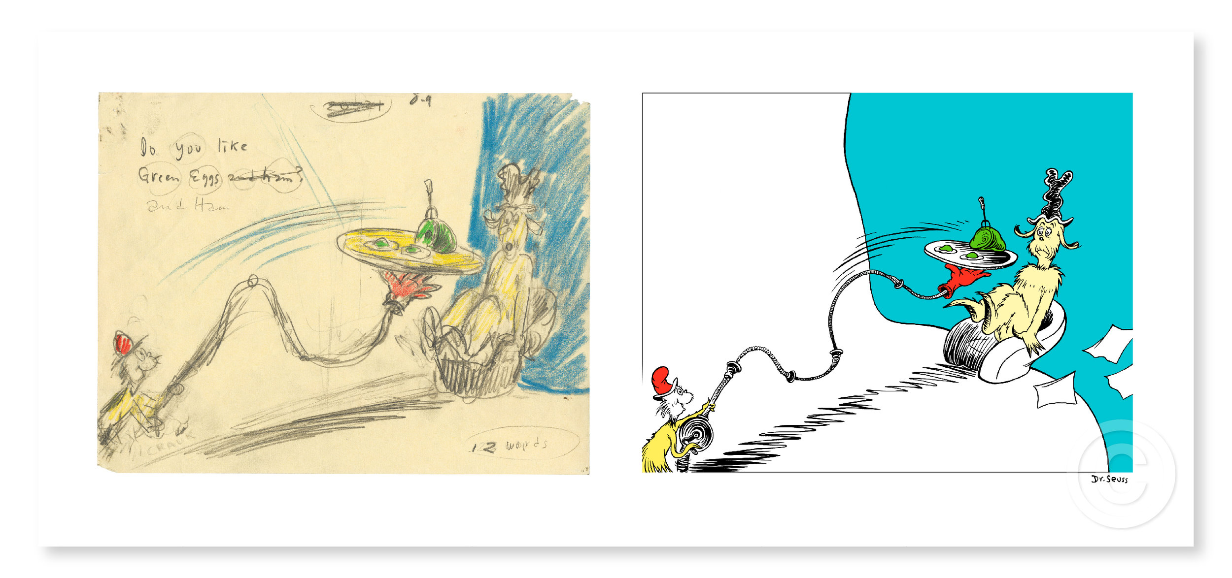 """Do You Like Green Eggs and Ham?  (Diptych)  Fine Art Pigment Print on Acid-Free Paper  Image Size: 10.75"""" x 14"""" (each), Paper Size: 14.25"""" x 32.5""""  Limited Edition of 850 Arabic Numbers, 99 Patrons' Collection, 155 Collaborators' Proofs, 5 Hors d'Commerce, and 2 Printer's Proofs"""