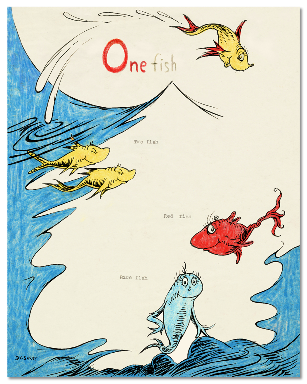 One Fish Two Fish Red Fish Blue Fish 60th Anniversary Pigment Print on Acid-Free Paper Image Dimensions: 29 inches x 23.125 inches Limited Edition of 395 Arabic Numbers, 99 Patrons' Collection prints, 155 Collaborators' Proofs, 5 Hors d'Commerce, 2 Printer's Proofs, 60 Special Reserve