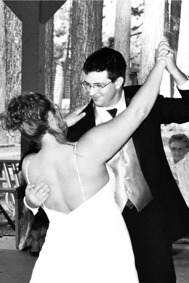 """Steven and Jessica met in college at the University of Nevada, Reno. They were married in June 2013 at the 4-H Camp in South Lake Tahoe. They chose Rumba as their wedding dance because it fit well with their wedding song, """"I Will Possess Your Heart"""" by Death Cab For Cutie. They continue to enjoy ballroom dancing together."""