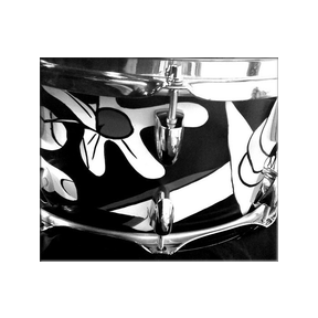 Prairie Prince-Picasso Guernica Drums custom drum design  Kymara Artistic Management No use authorized without permission.   Contact  gallery for availability.