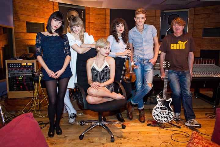 The Like in the studio with producer Joe Cross, London UK
