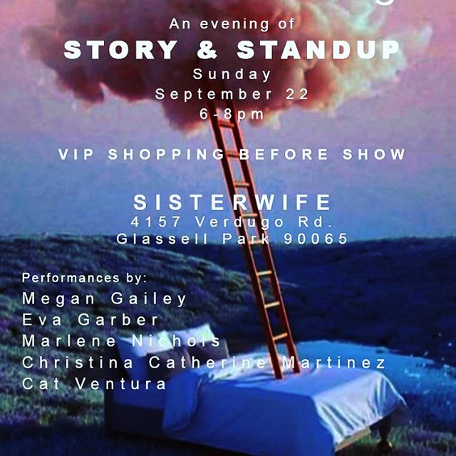 SUNDAY night @sisterwifeshop in Glassell Park I'll be performing in clothes, surrounded by clothes and other fabulous women! 6:45 is show time! Catered refreshments. Come find out did I go Botox or did I go bangs. 😘🎉 Address: 4157 Verdugo Road.
