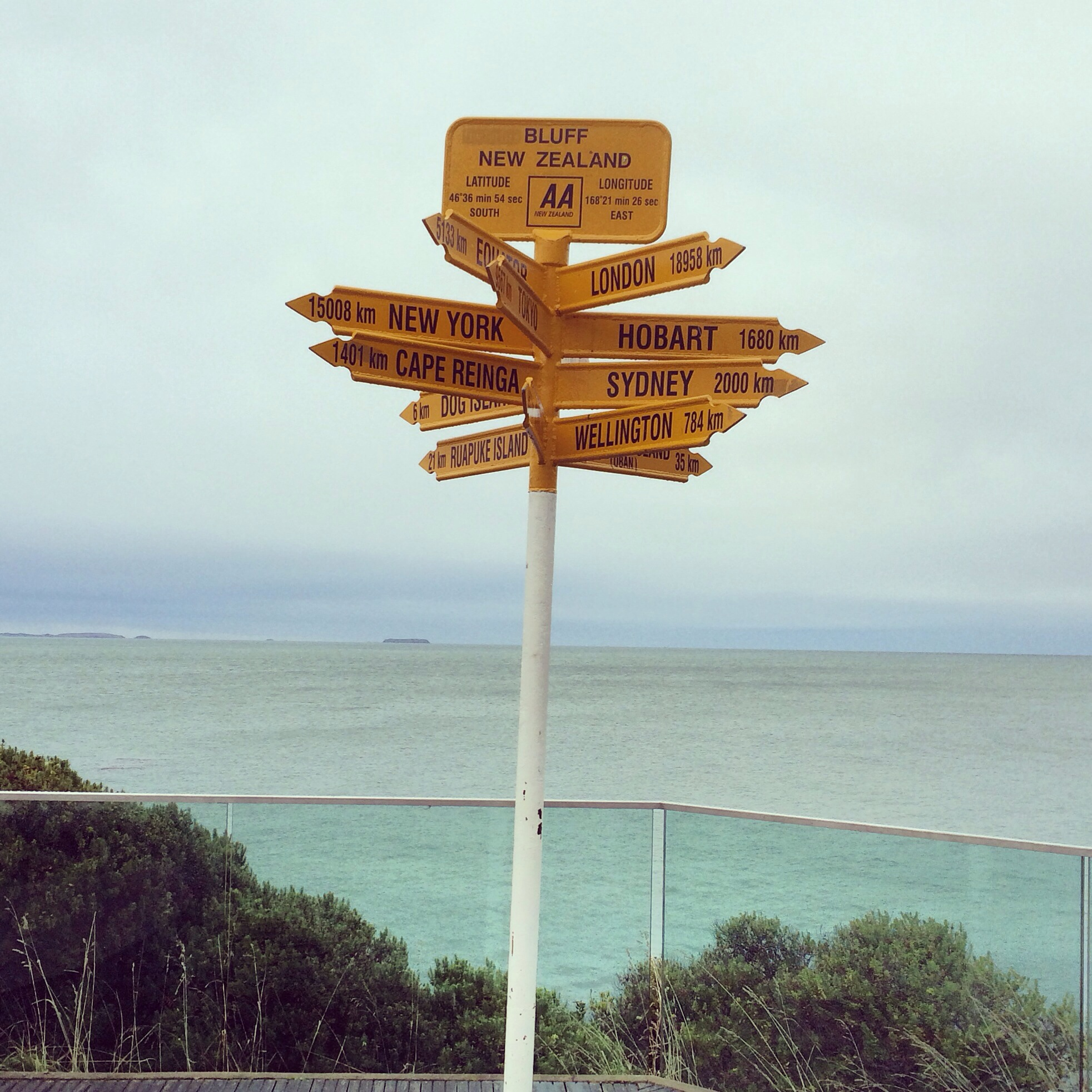 The southern most tip of the South Island of New Zealand in the town of Bluff- scary enough, the South Pole is 1/3 the distance from Bluff (5K KM) than New York City (15K KM)