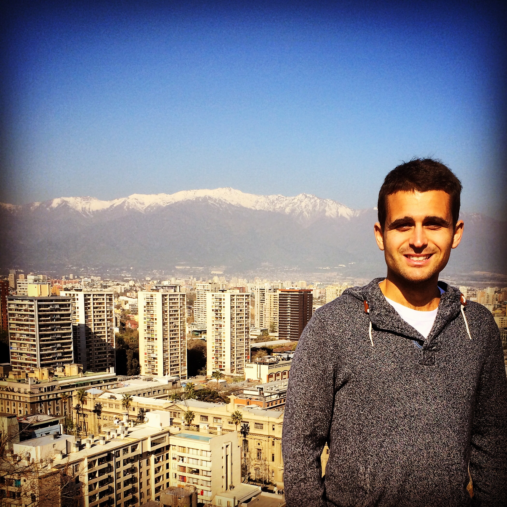 The view from the top of Santa Lucia Hill in downtown Santiago, with The Andes not too far behind