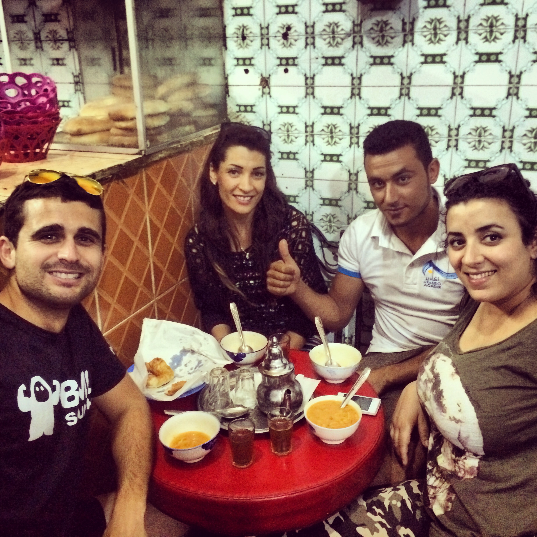 The crew: Najeh, Halima, and her friend Yassine