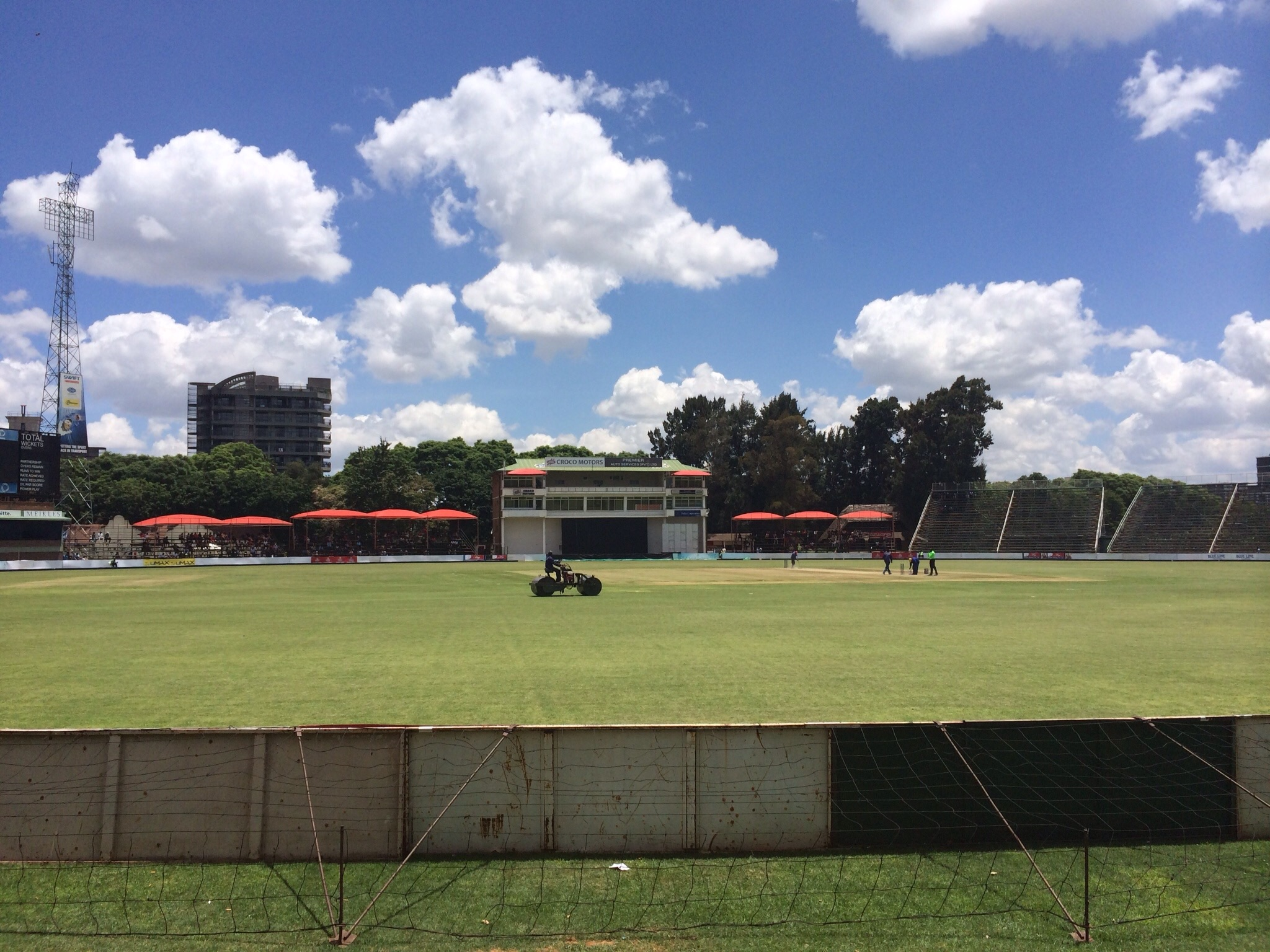 View from the vintage cricket pitch in Harare, as the lawn zamboni cruises by