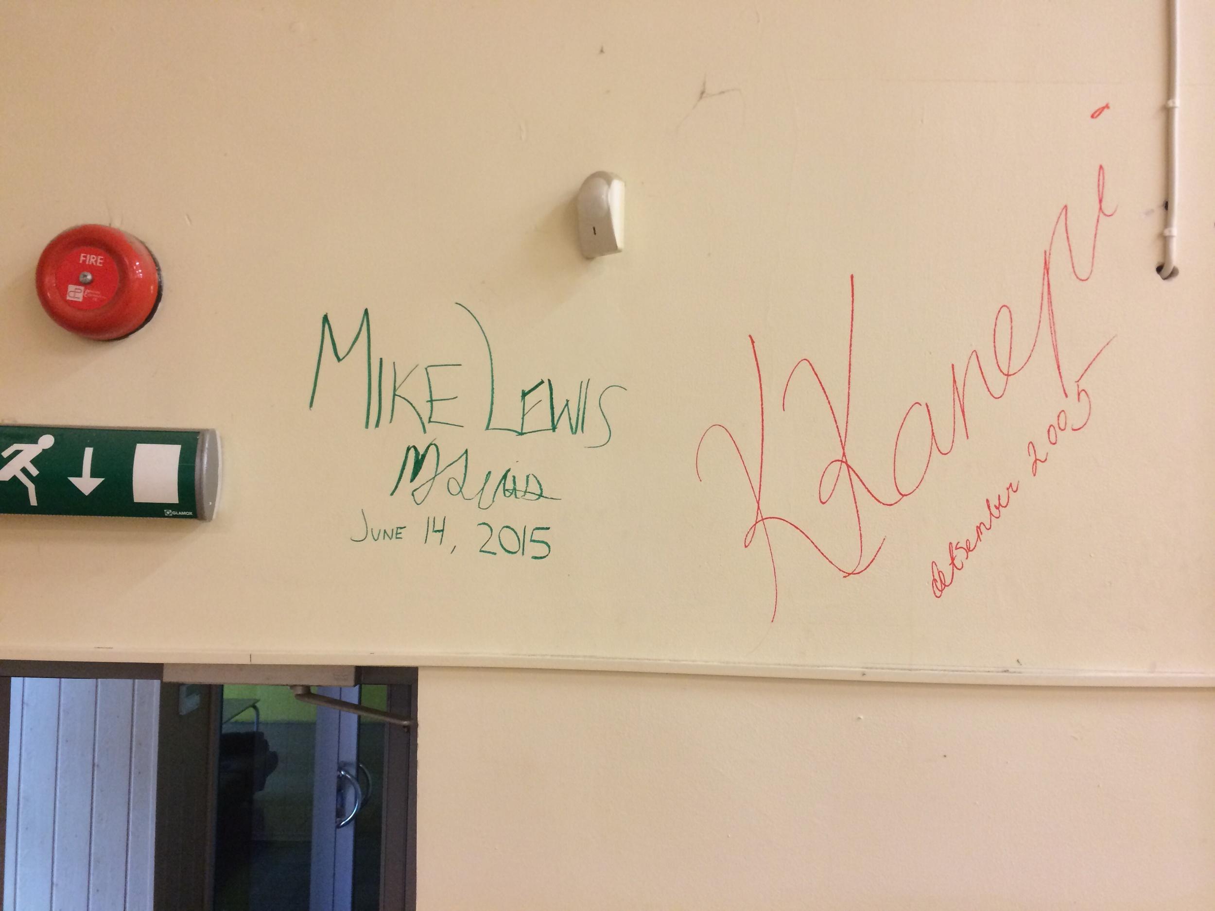 Signed the wall at Aliis' club in Pärnu. I'll be back.