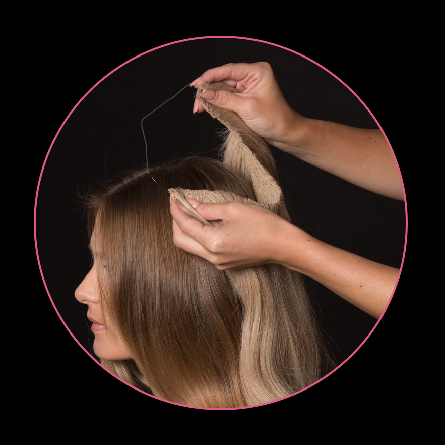"Step 2: Place The Band on the crown of the head. The Band should rest about 2"" from the hairline. Allow the weft to fall naturally between the ears at the occipital."