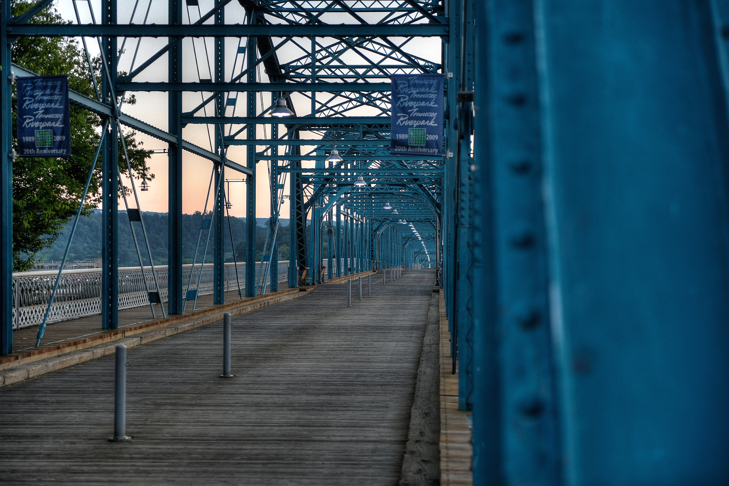 Walnut Street Bridge at sunrise. Chattanooga, TN