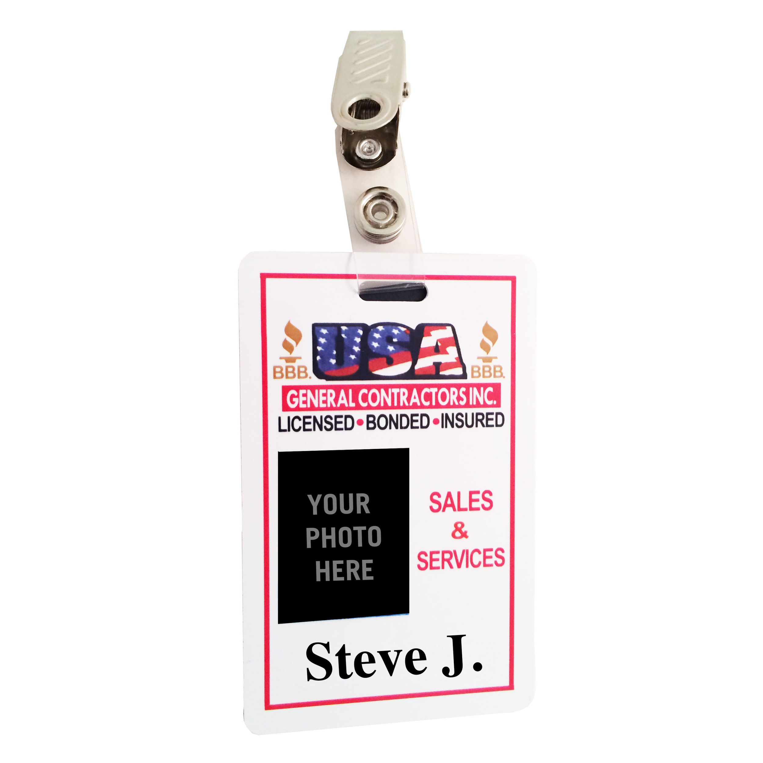 Full Color Vertical Single or Double Sided I.D. Badge