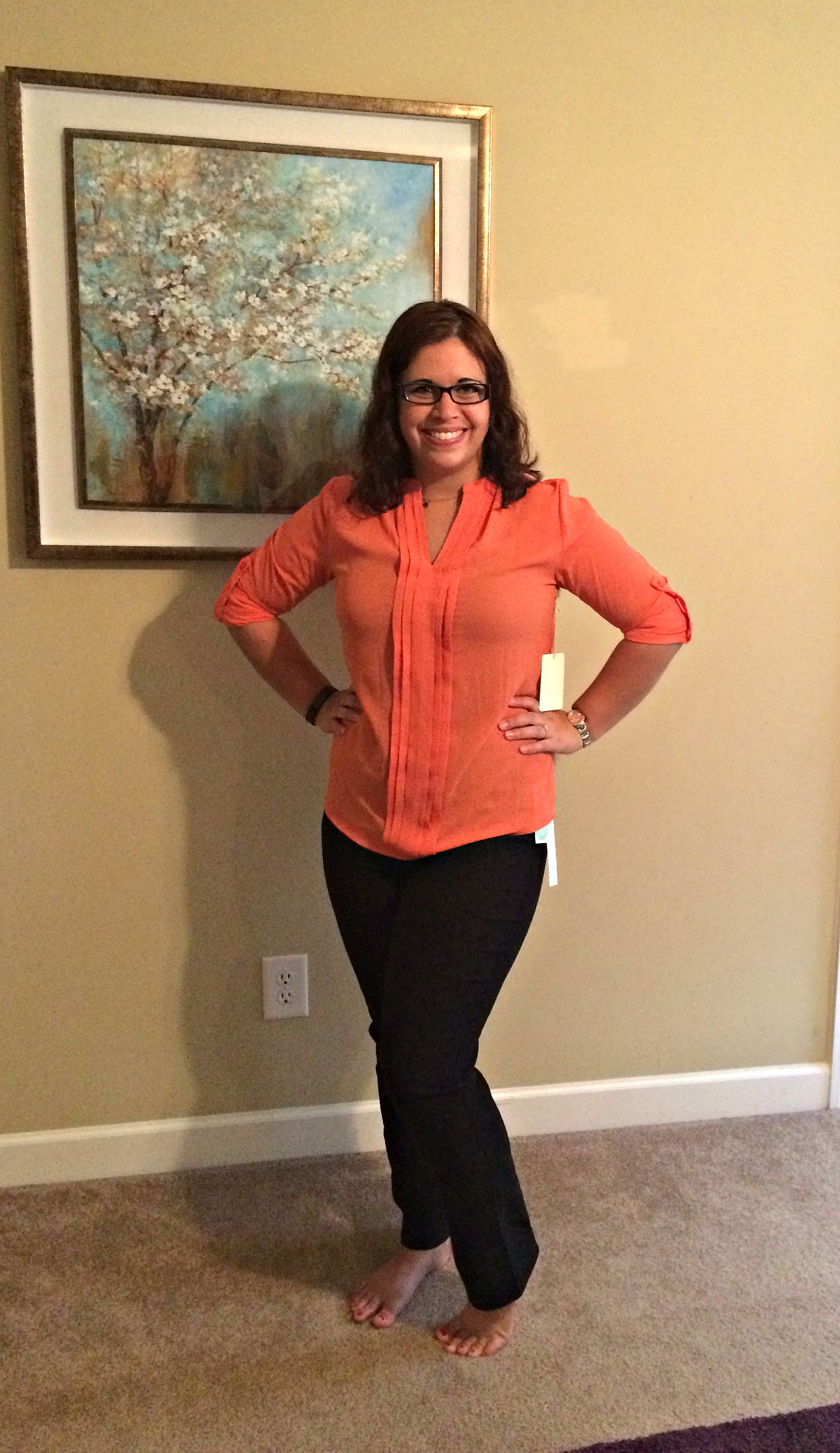 I got these great high-waisted pants and beautiful creamsicle blouse for work! Both keepers!