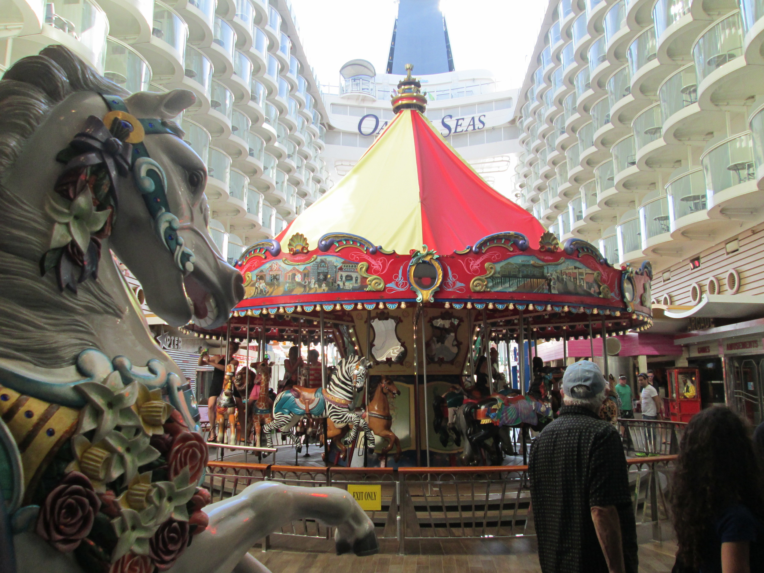The Boardwalk is a great area that boasts a carousel, rock-climbing wall, ice cream shop and aqua-theater.