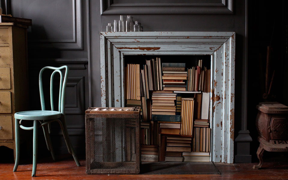 The Honest Home Podcast | Jersey Ice Cream Co. | Book Fireplace Display