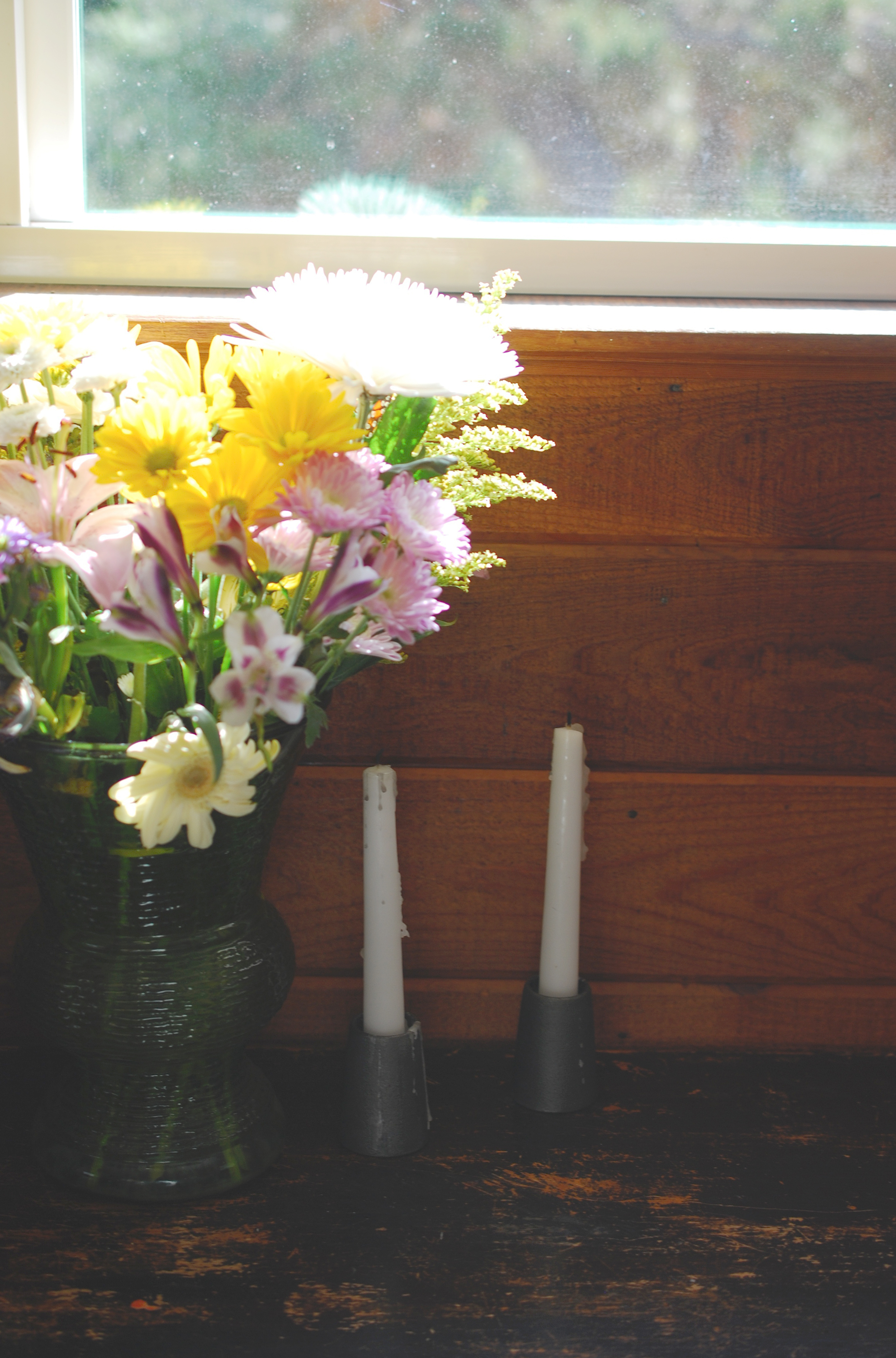 flowers and candles still out from Easter