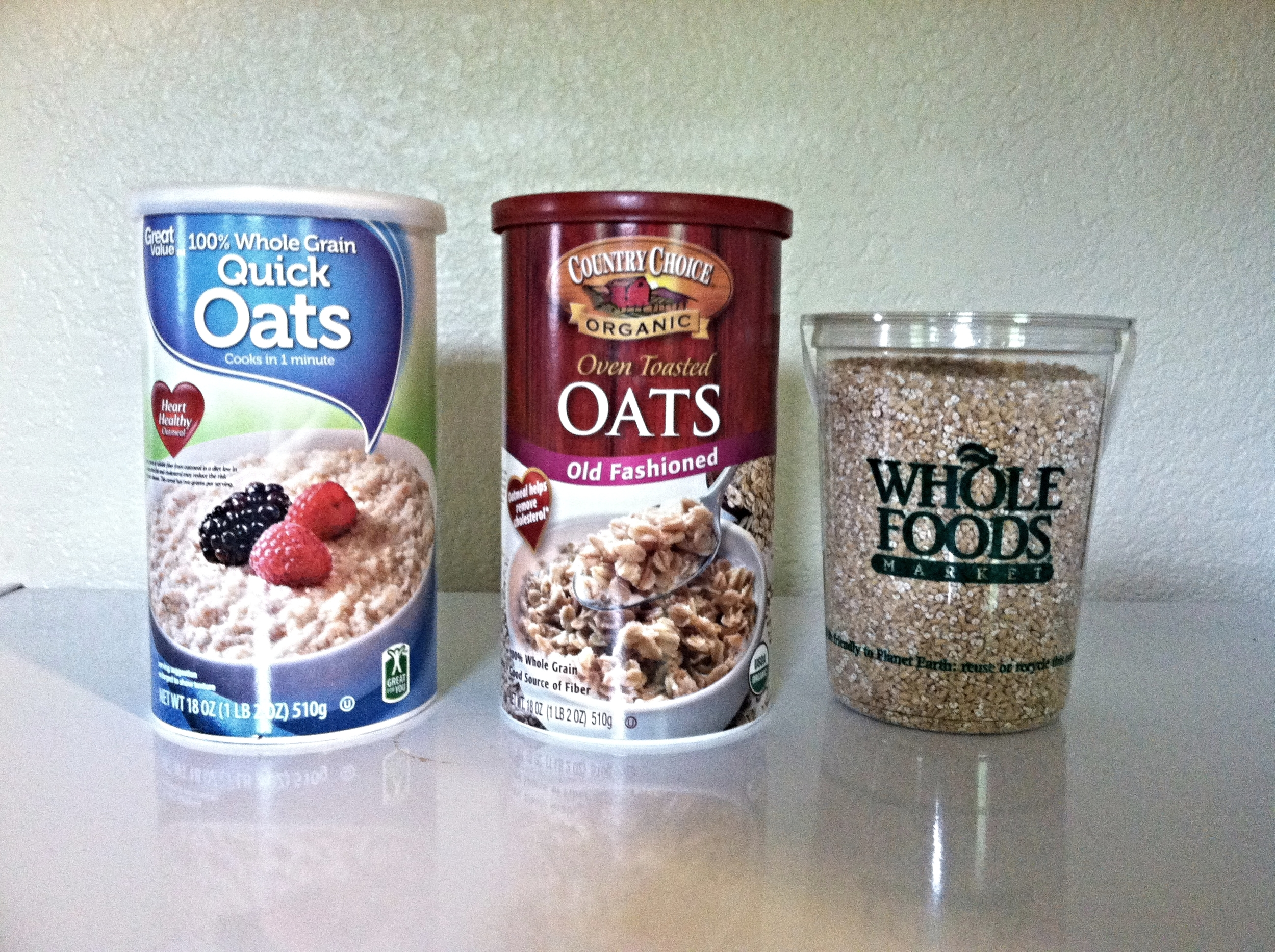 Left to right: quick oats, old-fashioned oats, steel-cut oats (from the bulk bin).