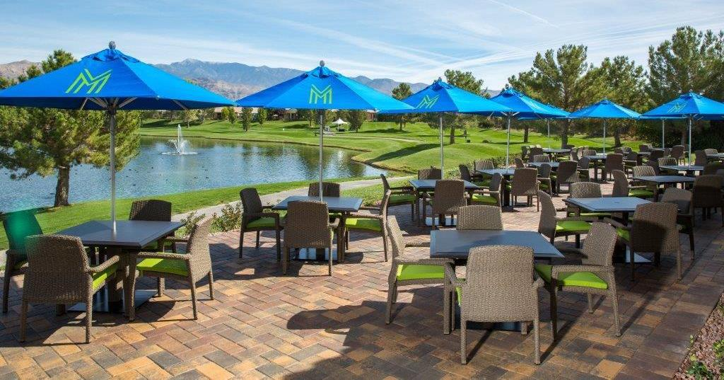 The Santa Ana 9' Aluminum Center Pole Umbrellas looks great at this Las Vegas Golf & Country Club.