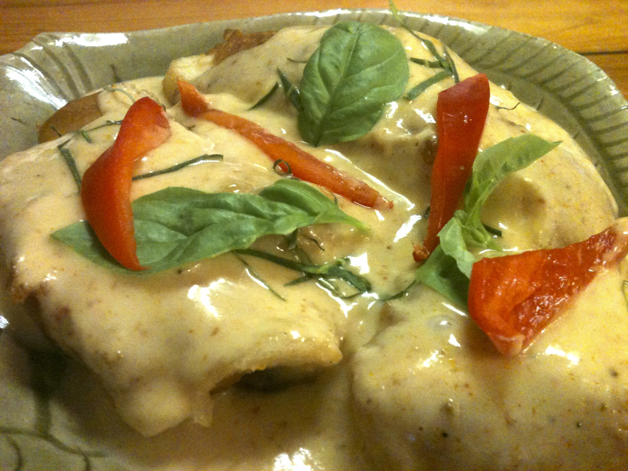 Pla Rad Prick - Battered Halibut topped with red curry sauce.