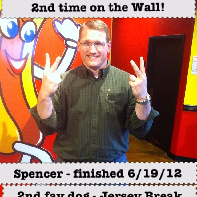 Spencer's second time to make the Wall Of Wieners. 58 days to finish 38 dogs... #hotdogs #corisdoghouse #nashville