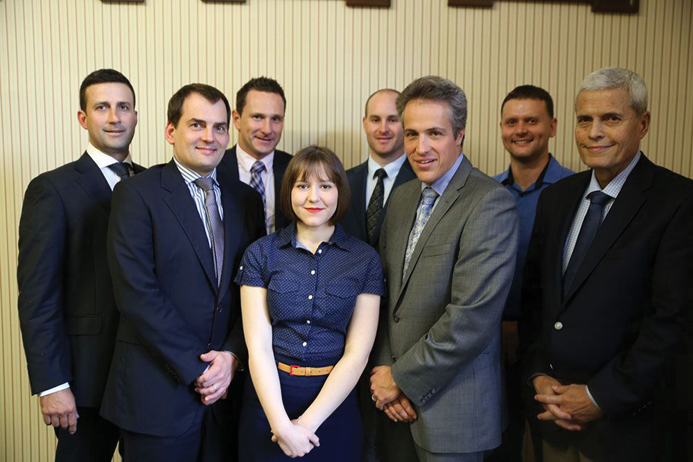 From left to right:Daniel Boulcher, Gerald Arends, Shane Lockland, Melanie Armstrong (RTG administrator), James Stott, John Biggs, Aaron Alcorn, Michael Alcorn.  Photo courtesy of Peter Brown, Sky Jellyfish