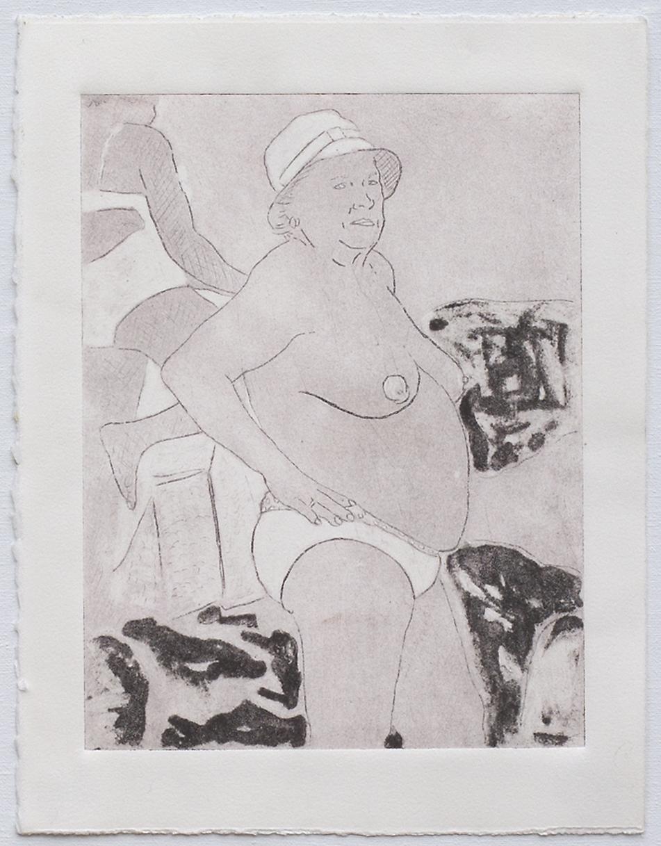 "@2016, Malayka Gormally, Preparing to Swim (ghost). Collagraph, 15"" x 11""."