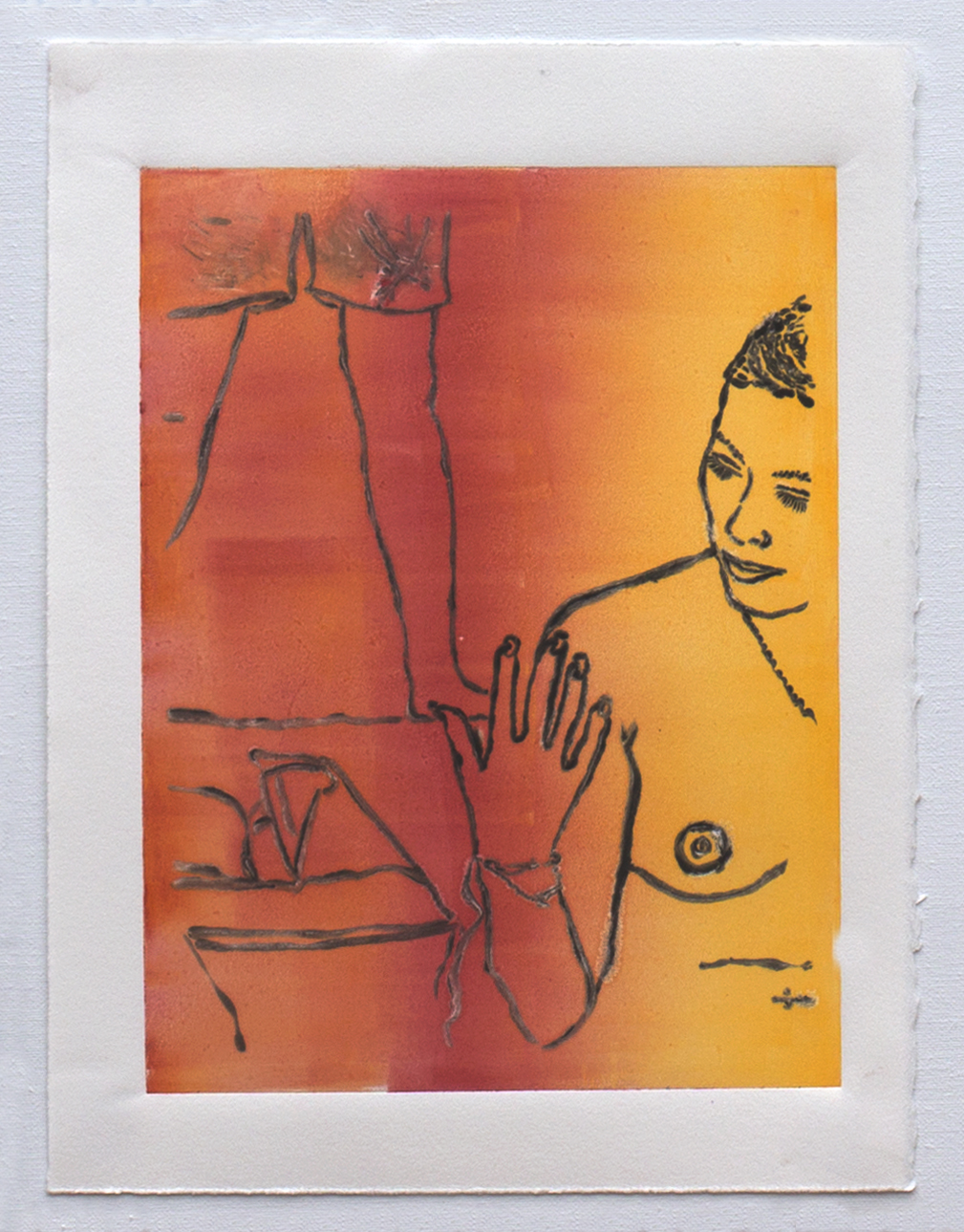 "@2016, Malayka Gormally,  Inspecting Her Nails At The Beach . Monotype print, 15"" x 11""."